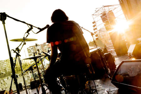 live action: Live music background.Drummer on the stage