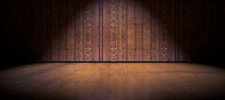 on wood floor: Wood door and cement floor background