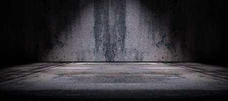 spotlight: Cement floor and wall background illuminated by spotlight