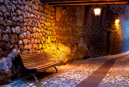 rural town: Rural town scenery.Bench and lamp on village