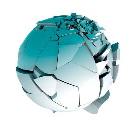 render: 3d ball broken into pieces isolated over white Stock Photo
