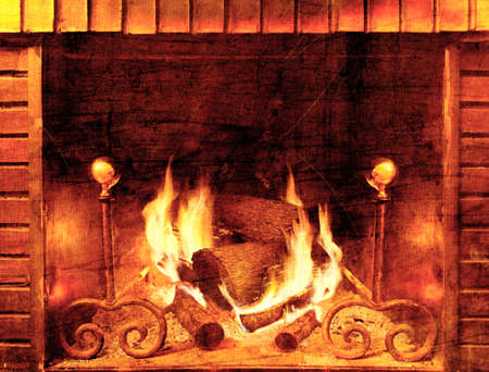 fireplace: Abstract background fireplace in old style textured Stock Photo