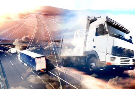 摘要背景卡車和transport.Highway和交付。 版權商用圖片