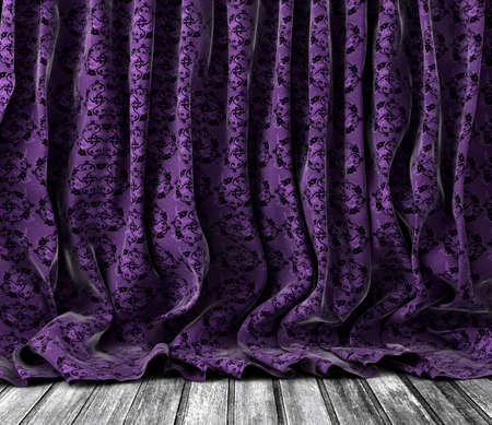curtains: Background old vintage floral curtains in purple toned.Wood floor texture.