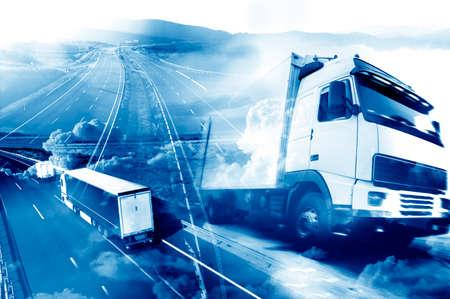 수송: 추상적 인 배경 트럭과 transport.Highway 및 제공.