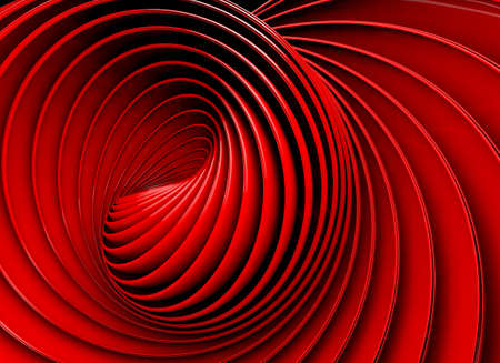 perspective: 3d red abstract background. Swirl shape Stock Photo