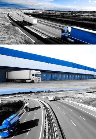 Camion e trasporti. Highway e delivering.Warehouse Archivio Fotografico - 50030416