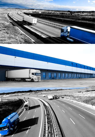 fast shipping: Trucks and transport. Highway and delivering.Warehouse