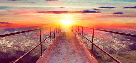 gateway: Abstract background,sunset and Gateway or small bridge.Tavel concept