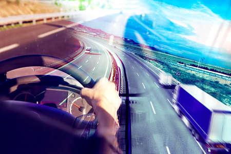 transport: Streszczenie tle Ciężarówki transport.Highway i dostarczania.