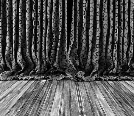 pucker: Background old vintage texture curtains.Wood floor.