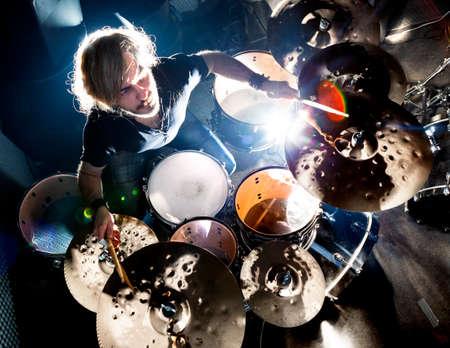 Man, spelend, de, drum., Levend muziek, achtergrond, concept., Drummer, en, rock, music