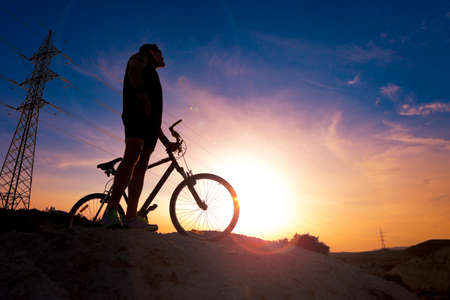 outdoor sport: Extreme sports.Mountain bicycle and man.Life style outdoor extreme sport