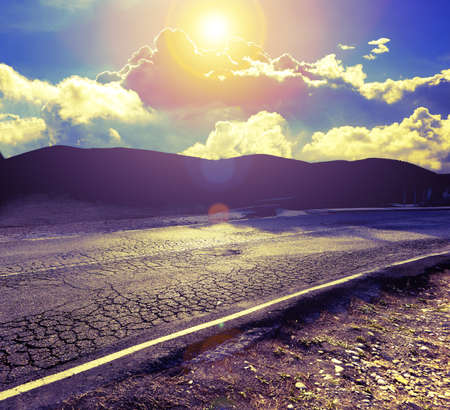 Asphalt and travel concept.Road and sunset.