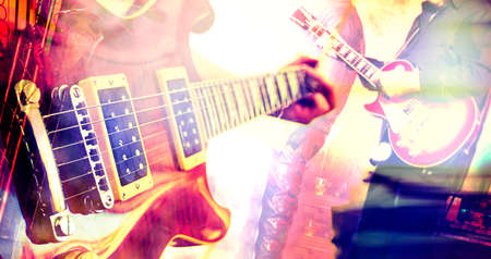 Live music background.Guitar design composition Stock Photo
