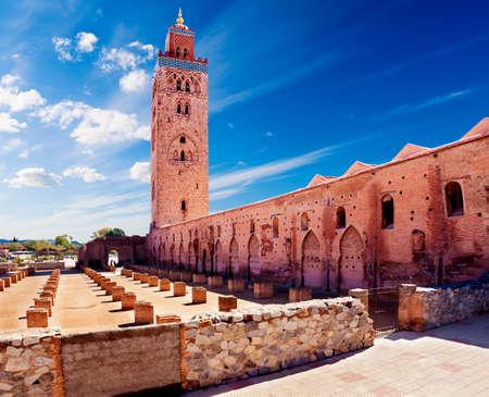 travel concept around the world.Koutoubia mosque, Marrakech, Morocco.