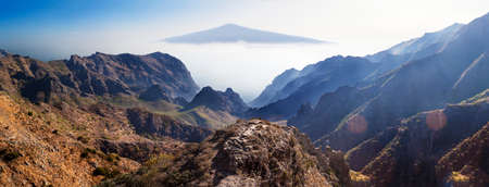 Masca valley.Canary island.Tenerife.Scenic mountain landscape.Teide volcano and sunset valley panorama in Tenerife. Stock Photo