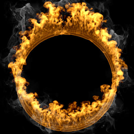 3d rendering fire frame circle isolated over black and smoke background