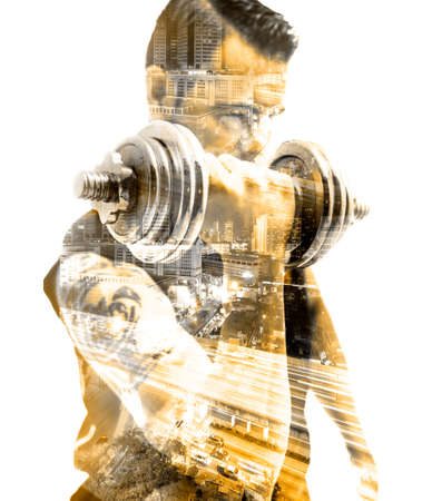 Gym equipment and sport concept.Strong and motion background.Dumbbells.Double exposure.