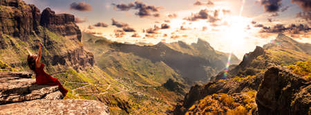 Masca valley.Canary island.Tenerife.Scenic mountain landscape.Cactus,vegetation and sunset panorama in Tenerife
