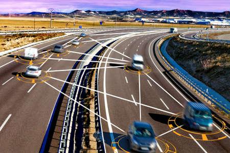autonomous car and self driving concept.Intelligent transport background