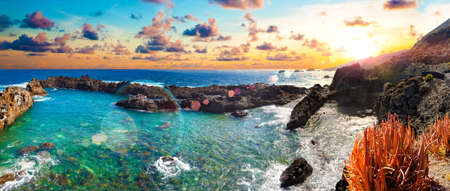 Nature scenic seascape in Canary Island.Travel adventures landscape.Tenerife island scenery.
