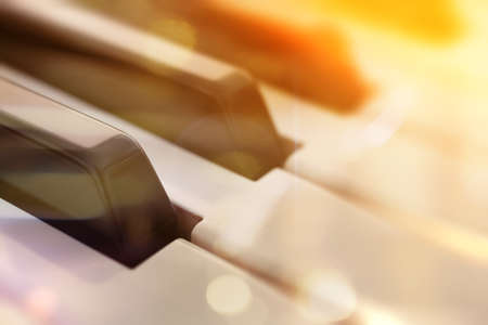 Piano keys abstract background. Relax music for travel road. Piano music concept