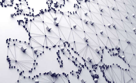 World map and networking.3d illustration and concept of international logistics of agreements and international business. Networks and companies around the world