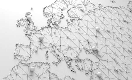 3d illustration and concept of international logistics of agreements and international business. Networks and companies around the world