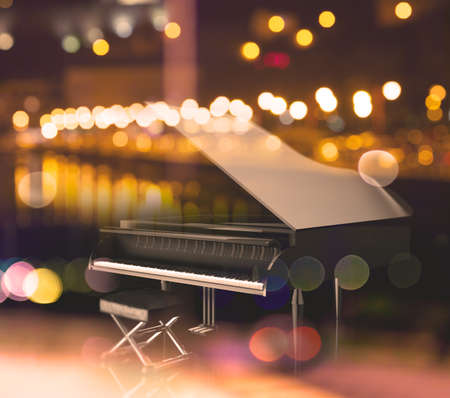 Jazz music concept. Music and urban and concert lights flare.