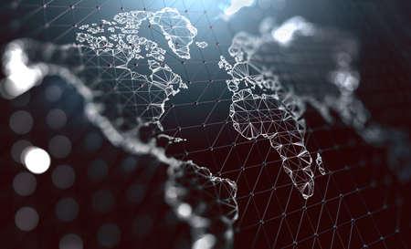 Logistics and international shipments. Company communication around the world. Big data management.3d illustration Stock Illustration - 123595674