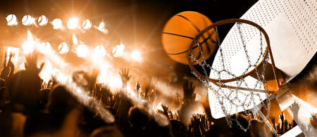 Hoop and ball illuminated by the spotlights. Competition and sport event. Public and crowd applauding the basketball game