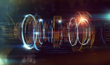 Futuristic and modern design of prototype.Code and numbers for computing and quantum communication concept.Technology and engineering abstract background.3d illustration Фото со стока