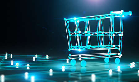 Internet business and basket design.E-commerce and e-shopping concept.3d illustration 写真素材