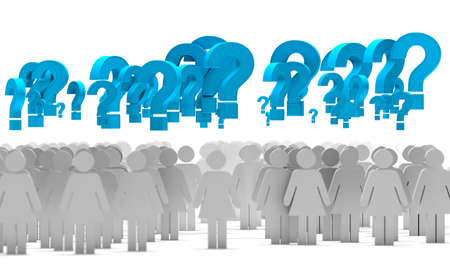 Question mark and woman icon shape.Problem and solution concept.3d illustration
