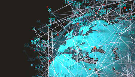 World map and data structure. Communication and technology abstract background.Data science and big data concept.3d illustration Stok Fotoğraf