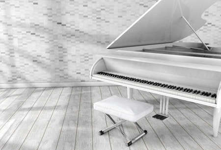 surreal image of white grand piano in room.Music and entertainment.3d illustration