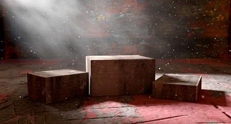 Pedestal or platform on cement floor.3d illustration.Abstract background empty and dark room
