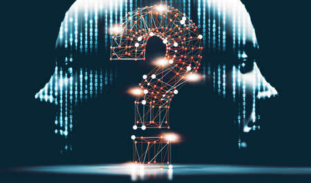 Networking and communication questions for cyber security.Cyborg head and binary code.3d illustration.Question mark and concept of science and technology. Questions and answers on the Internet.