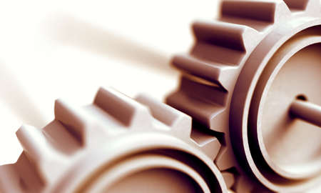 Teamwork and cooperation concept.Group of mechanisms and gears.Industrial and engineering abstract background.3d illustration 写真素材