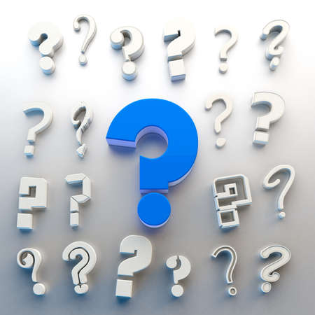 Questions mark isolated over white background.Concept of doubts and questions.Many questions icon.3d illustration