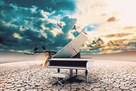 Surreal image related to piano music,song and melody.Sunset and dry soil scenic landscape.Birds and cracked floor
