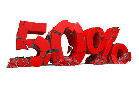 Number 50 in red isolated on white and percentage sign. Breaking prices and promotion