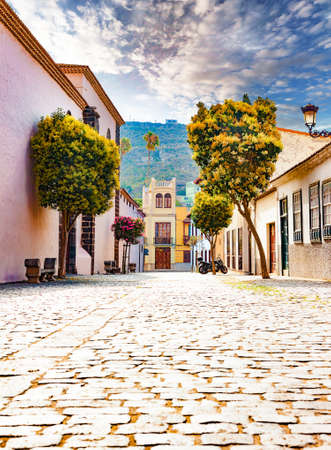 Landmark and vacations in Spanish beachs.Canary Islands.Tenerife,La laguna village.Travel and tourism in Canaries Stock Photo