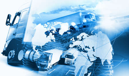 Abstract design background Trucks and lorry transport.Highway and delivering.World map and international freight Banque d'images