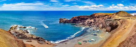Scenic landscape Green lake in El Golfo, Lanzarote island, Spain