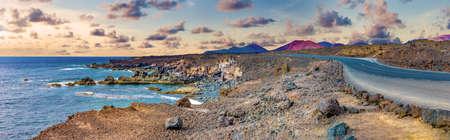 Scenic landscape Los Hervideros lava's caves in Lanzarote island,landmark in Canary islands