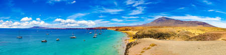 Spanish View scenic landscape in Papagayo, Playa Blanca Lanzarote ,Tropical Volcanic Canary Islands Spain Stok Fotoğraf - 148184301