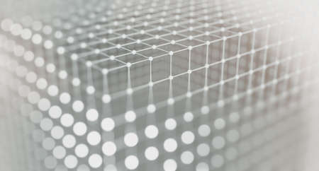 Mesh or net with lines and geometric shapes detail.3d illustration