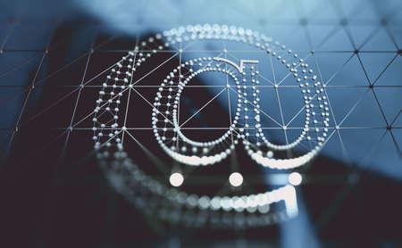 Arroba or at symbol or sign.3d illustration